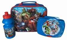 Marvel Avengers 3 Piece Lunch Box Bag with Sandwich Case & Drink Bottle Flask
