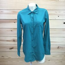 O'Neill Womens Shirt Small Green Roll Tab Sleeves Button Down Pocket Sheer B46