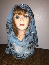Turquoise Long Scarf Hijab Wrap Sheer pretty and fashionable w/metallic thread