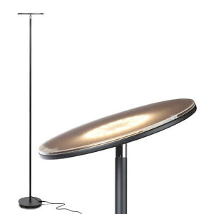 Brightech Sky Flux LED Torchiere Bright Standing Touch Sensor Floor Lamp, Black