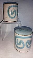Briglin Pottery salt & pepper shaker set brown blue design made in UK circa 1970