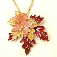 Maple Autumn Falling Leaves Pendant Long Necklace Vintage Red Brown Yellow Gift