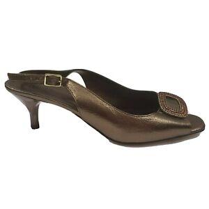 """J. Renee Women Slingback Heels Size 8.5 Brown Bronze Open Toe 2.5"""" heel Classic"""