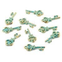 10pcs Key Bronze Green Charms Bead Pendant DIY Jewelry Making 21*9mm
