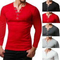 Men's Slim Tee Shirt Tops Sweater Fit Long Sleeve Slim T-shirts Casual Sports