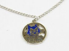 """Felix The Cat Necklace w/Silver Tone Open Round Pendant ~ """"TOXIC"""" #YPD1125"""