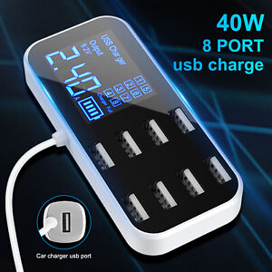 Fast Charging Car USB Charger Station Desktop Hub 8-Port LCD Display for Phone