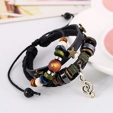 Unisex Multilayer Leather Star Note Accessory Beads Blange Bracelet Adjustable