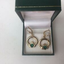 9ctgold Earrings Claddagh Creole hoops With Green Gem