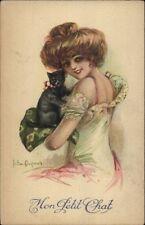 Beautiful Woman w/ Black Cat Mont Petit Chat c1910 Postcard