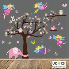 Fée arbre fleur/papillon/chouette/nursery kids bébé fille autocollant mural decal