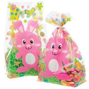 EASTER BUNNY Cellophane Bags 10 Pack Easter Egg Hunt Party Bag Gift Wrap Craft