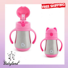 New listing Stainless spill proof Straw Cup 8 Ounce Double Walled Stainless Steel Pink Cat