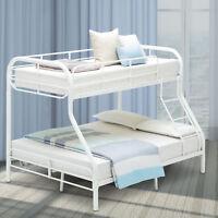 Metal Bunk Bed Twin over Full Kids Teens Dorm Bedroom Loft Furniture with Ladder