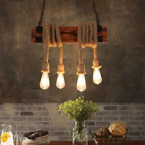 Loft Industrial Hemp Rope Hanging 4 Bare Bulbs Square Wood Black Pendant Lights