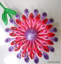 """VINTAGE 60's metal ENAMEL flower PIN brooch 3.5"""" purple PINK red LONG STEM B10"""