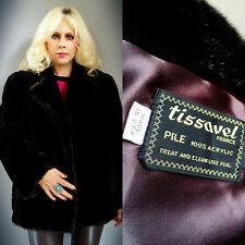 Vintage Tissavel France Faux Mink Fur Dark Brown Coat Jacket Stroller Cape