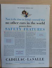 1929 magazine ad for Cadillac - Safety Features no other cars in the world have