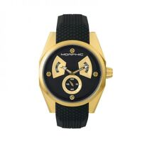 Morphic M34 Series Black Dial Gold Men's Watch with Day Date MPH3406