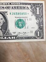 2013 $1 FRN U.S.  Star Note Serial #K26 58 58 50* (Dallas)