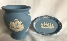 Wedgwood Blue Jasper Ware Classical Figural Bud Vase & Trinket Dish