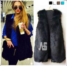 UKLadies Faux Fur Sleeveless Vest Waistcoat Gilet Wrap Shrug Jacket Coat Outwear