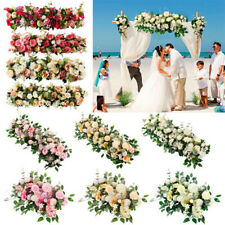 Artificial Rose Plant Fake Flower Wall Row Backdrop Panel Floral Decor Wedding