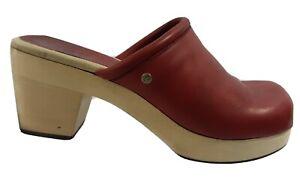 Frye Kendal Clog Womens 9 M Red Leather Wooden Platform