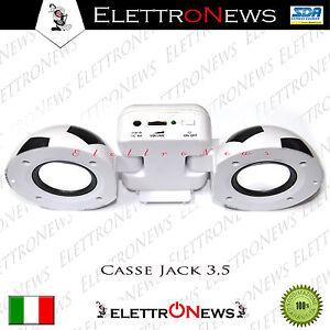 Mini casse speaker connessione jack 3.5 mm compatib. Iphone Samsung Huawei Asus