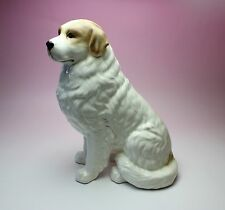 """11""""H Sitting Great Pyrenees White with Red Marks Porcelain Dog Figurine Japan"""