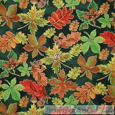 BonEful FABRIC Cotton Quilt Green Leaf Red Xmas Orange Yellow Brown Acorn SCRAP