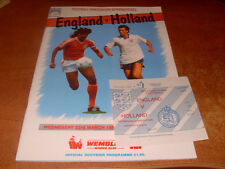 Programme: England V Holland 1988 With Ticket Stub.