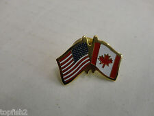 Tie Tack Lapel Hat Pin, U.S.A. and Canadian Flags (Used/Old Stock)