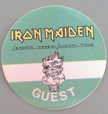 1988 IRON MAIDEN BACKSTAGE GUEST PASS 7/7 TOUR