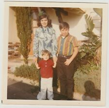 VINTAGE 70s Square PHOTO Young Girl w/ Little Brothers Boys