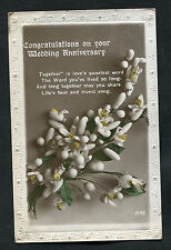 C1920s Wedding Anniversary Card: Flowers: Together is Love's Sweetest Word