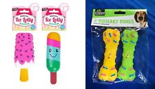 Set of 4 Pet Fetch Play Toy Ice Cream and Bone Shaped Squeaky Puppy Dog Toy