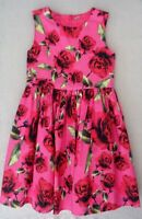 Girls Pink Red Green Multi Floral Rose Dress Party Occasion Wedding 8-9 years