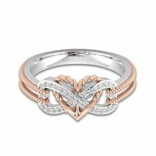 925 Silver Rose Gold Filled Heart Rings White Sapphire Wedding Band Gift Sz 6-10