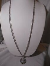 NEW YORK CO. NWT silver tone Greek COIN multi chain pendant necklace LONG $23