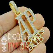 "Real Yellow Gold On Sterling Silver ""AP"" Always Paid Pendant Simu Diamond Charm"