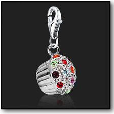 925 Sterling Silver Cupcake clip on Bracelet Charm Swarovski 3D Charms Crystal