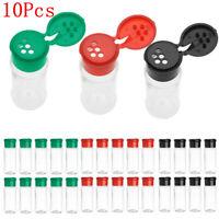 10Pcs Plastic Spice Storage Jar Salt Pepper Shakers Condiment Bottles Container