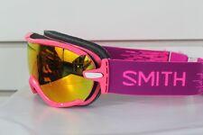 New 2017 Smith Virtue Ski Snowboard Goggles Fuchsia Static Red Sol-X Mirror Lens