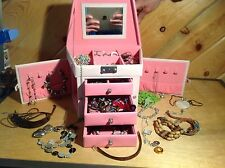 Vintage Faux Leather Jewelry Box Organizer Gift Case Pink w/ lots of Jewelry!!