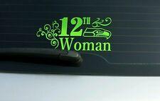 Seattle Seahawks 12th Woman Lime Green Vinyl Window Sticker Decal! GO HAWKS!