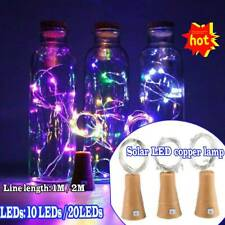 Solar LED Fairy String Lamp Wine Bottle Copper Cork Party Lights 10/20LEDS Decor