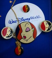 Disney JESSICA Rabbit Profile Pleasure Island Jeweled Earrings Necklace Set Pin