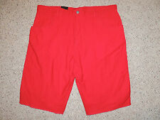 Mens Size 36 38 Ocean Current Solid Red 100% Cotton Casual Long Shorts
