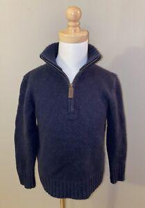 Ralph Lauren Boys Navy Blue Cashmere Heavyweight 1/4 Zip Sweater , Size 5